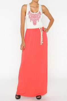 Maxi dress with embroidered top.  Great for outdoor summer weddings and pair with nude flats.