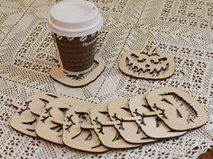 Set of 9 coasters for mugs. Quadratic pumpkin. Birch plywood. Home kitchen decor horror halloween laser cut