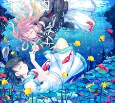 This is a cute anime wallpaper. it shows two touhou anime girls underwater. They are among the fishes and the like.
