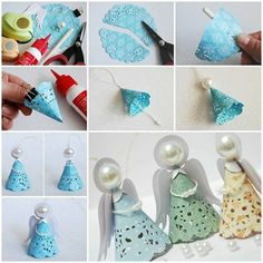Cute little paper angels. Greeting from: www.wonderfuldiy.com