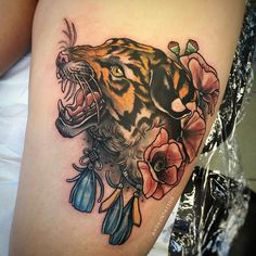 One from designs. Tattoo Clothing, Neo Trad, Tiger Tattoo, Color Tattoo, Tattoo Artists, Screen Printing, Tattoos, Prints, Clothes