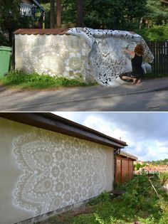 Warsaw-based artist NeSpoon adds a delicate touch to public spaces with her intricately designed lace patterns. artist at work Murals Street Art, Street Art Graffiti, Graffiti Artists, Public Art, Public Spaces, Plein Air, Urban Art, Installation Art, Cool Art