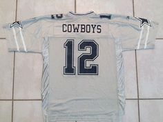Rare Vintage REEBOK ON FIELD Dallas Cowboys  12 NFL SILVER Jersey Men s  Large accf02fd8
