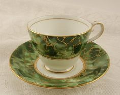 Aynsley China ONYX Green Footed Cup & Saucer Set