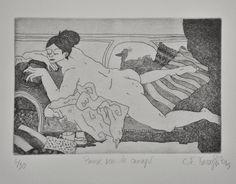 GRAVURE / EAU-FORTE / Collection BigNana / Pause Canapé    https://www.etsy.com/fr/shop/CFTurcas