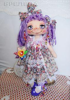 Купить Текстильная интерьерная кукла Цветик-Семицветик Анютка 2.. - сиреневый, интерьерная кукла
