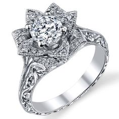 My #1 Dream Engagement Ring!!!! Hand-Engraved 8 Petal .58-ct Diamond Lotus Flower Ring BBR588-2-  sideview