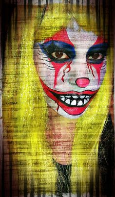 Evil Clown Halloween Makeup - except only half my face looks sweet!