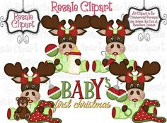 Moose Baby's First Christmas 1 Clipart Digital by MaddieZee