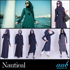 Every season new trends come and go but the nautical look has established itself as a timeless classic that comes around year after year. Invest in a shirtdress, a printed top, or a polo in navy, incorporate some white and/or red with Aab's signature hijabs, and you are ready to sail this season in style with this nautical chic look. SHOP NOW: www.aabcollection.com