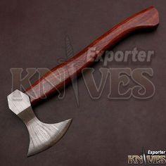 "Knives Exporter Custom 14"" Damascus Steel Bearded Axe S262 ASH Wood Handle #Knivesexporter"