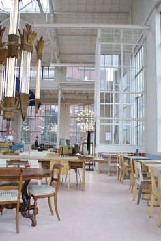 The interior of the Piet Hein Eek restaurant in Eindhoven. Deco Restaurant, Restaurant Interior Design, Cafe Interior, Interior And Exterior, Design Hotel, Interior Ideas, Design Café, Cafe Design, House Design