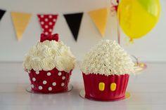 Twin's 1st Birthday Mickey and Minnie Theme smash cake.