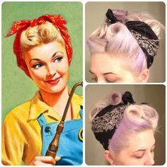 Vintage Hairstyles retro bandana hair victory rolls pin curls vintage pinup pin up retro vintage hair 1940s Hairstyles, Bandana Hairstyles, Wedding Hairstyles, Bandana Updo, Rockabilly Look, Rockabilly Hairstyle, Cabelo Pin Up, Roll Hairstyle, Hairstyle Short