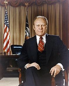 Official White House portrait of Gerald Ford, the 38th President of the United States, 1974-1977.  He also served as vice-president after Spiro Agnew resigned, under Richard Nixon, 1973-1974.  Ford became president after Nixon's resignation.
