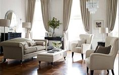 Cream and very formal. Like the shape of lounges and chairs