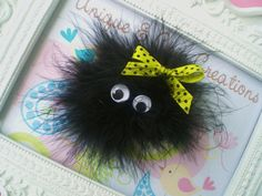 Items similar to Black Fluffy Girl Monster Halloween Hair Bow on Etsy - Unique and Chic Creations Halloween Hair Bows, Halloween Crafts, Halloween Items, Diy Unicorn Headband, Ribbon Hair Bows, Ribbon Flower, Adornos Halloween, Diy Accessoires, Felt Flowers