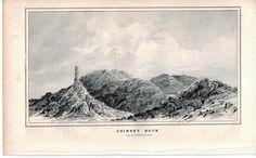 Chimney Rock 1845 Antique Litho Print by E. Weber