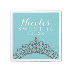 #glitter - #Silver Faux Glitter Tiara Crown Birthday Party Paper Napkin