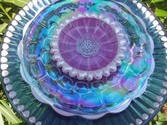 Garden Art - Glass Plate Flower -  Hand Painted in Pealized Pink & Magenta