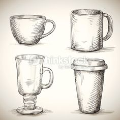 set of coffe mugs vector drawing sketch style