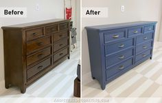Dresser Makeover – Before & After (A Dark Stained Dresser Painted Blue) Stained Dresser, Wood Dresser, Cabinet Furniture, Painted Furniture, Makeover Before And After, Gold Spray Paint, Good Tutorials, Dark Stains, Draped Fabric