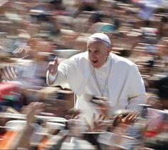 Pope Francis gives the thumb up as he leads the Easter mass in Saint Peter's Square. Photo by Tony Gentile, Reuter.