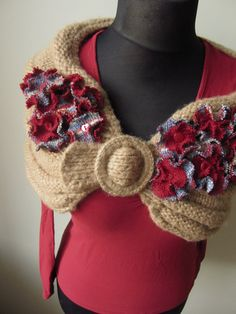 repurposed sweaters | Shawl Wrap with Red Sweater Rosettes - made from repurposed sweaters ...