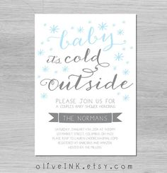 Baby it's cold outside winter baby shower invitation {{ snowflake shower invitations frozen birthday gender neutral snowy holiday party }}