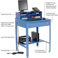 "Shop Desk w Pigeonhole Compartments, Slope Top 34-1/2""W x 30""D x 38 to 42-1/2""H"