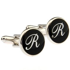 Santimon - Capital Letter 26 English Alphabet Letters Cuff Links Cufflinks With Gift Box R. product name:26 English letters-R men/women cuff cufflinks. product material:brass, high quality electroplate white steel. Microfiber polishing cloth included with set. Features a swivel post for easy application. Great for dress shirts, collard blouses, or tuxedo shirts! We make your french cuffs look good!.