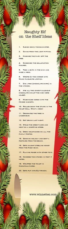 Elf on the Shelf Ideas. Is your elf a good elf or a naught elf on the shelf? Here are two lists of 20 ideas for each type of elf. #elfontheshelf #elfontheshelfideas #christmas