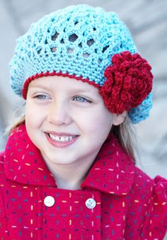 Crochet pattern - super cute lacey beanie with a flower.