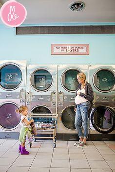 laundry at doing laundromat Naked