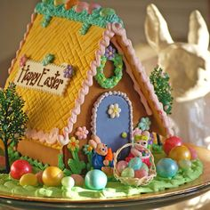 Easter Gingerbread Houses from The Solvang Bakery make great Easter gifts. You can order Easter gifts online and we'll ship them to far away family and friends fresh from our Solvang, CA bakery! Easter Cookies, Easter Treats, Christmas Gingerbread House, Gingerbread Houses, Gingerbread Cookies, Candy House, Cookie House, Easter Activities, Xmas