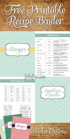 Free printable Recipe Binder pages with tons of pages + 3 different color options!!  I used these as a gift for a wedding shower and everyone brought recipes to add to the binder, she loved it!!  What I wouldn't give to have started out with a Binder FULL of favorite recipes!!