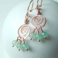 Coiled Hoop Earrings Copper Wire Wrap Green Aventurine summer fashion boho copper jewelry. $25.95, via Etsy.