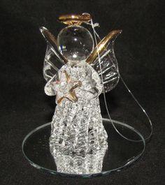 Spun Glass Christmas Ornament Angel Figurine ~ 24K Gold Plated Mirror Base MIB