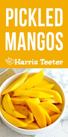 These sweet and savory pickled mango spears are perfect for snacking. They are also a fun addition to a charcuterie tray or grilled cheese sandwich! Recipes Appetizers And Snacks, Fruit Recipes, Healthy Snacks, Sandwich Appetizers, Desserts, Pickled Mango, Plateau Charcuterie, Vegetarian Recipes, Healthy Recipes