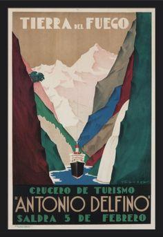 Argentina - Antonio Delfino - Tierra del Fuego - (artist: Tabrega) - Vintage Advertisement (24x36 Giclee Art Print, Gallery Framed, Black Wood), Multi