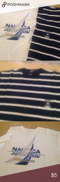 2- Mens XL Nautica T-Shirts 2- Mens XL Nautica T-Shirts. Both show pictures of Front of Shirts, both are plain in the back. Blue shirt has Left Breast Pocket. Both are 100% Cotton Nautica Tops Tees - Short Sleeve