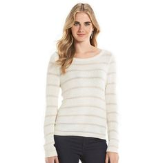 Women's LC Lauren Conrad Striped Scoopneck Sweater ($11) ❤ liked on Polyvore featuring tops, sweaters, white oth, stripe sweater, print sweater, scoop neck sweater, keyhole sweater and scoop neck top