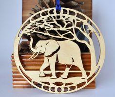 Wood Elephant ornament woodcut Elephant