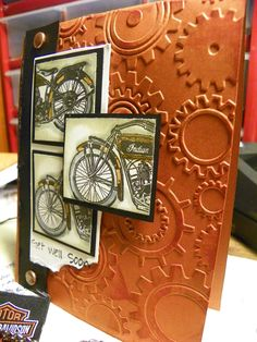 Get Well with Gears motorcycle card for bikers, unique and hand-stamped