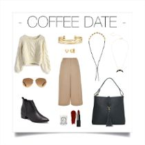 Coffe date in style. Fall fashion