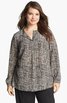 Lafayette 148 New York 'Samantha' Print Silk Blouse (Plus Size) (Online Only) available at #Nordstrom