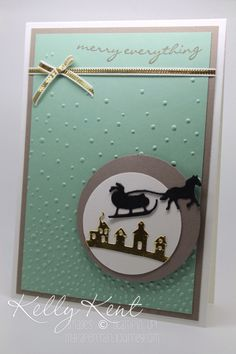 handmade Christmas card .... mint and taupe .. luv how she used the die cut Santa and houses from the landscape lines from the Thinlets landscape dies ... great design layout ... Stampin' Up!