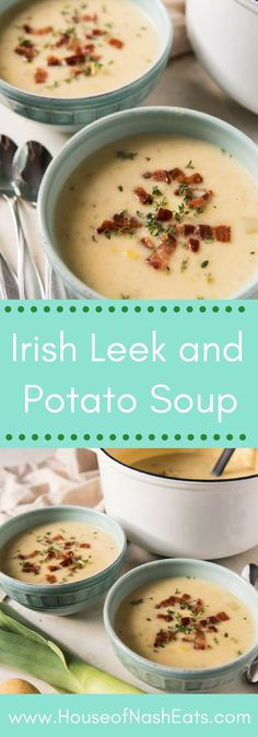 This creamy Irish Leek and Potato Soup is a deliciously savory and satisfying light dinner that is perfect served with lots of crispy, crumbled bacon bits on top and a loaf of Irish soda bread with plenty of butter. Best Soup Recipes, Irish Recipes, Healthy Soup Recipes, Chili Recipes, Potato Recipes, Irish Desserts, Lemon Recipes, Irish Soup, Irish Potato Soup