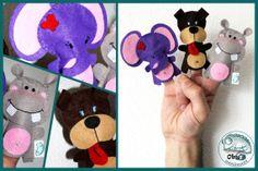 Marionette da dita con simpatici animaletti in di Obyshandmade, €10.00