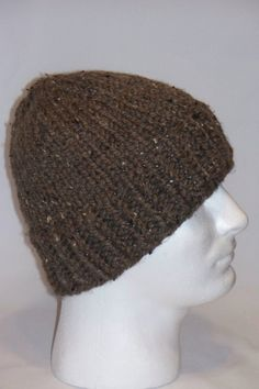 Warm Winter Beanie Hat  Chocolate Brown with by lousknittingroom